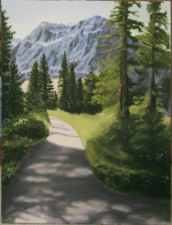 Banff pathway – Oil on canvas