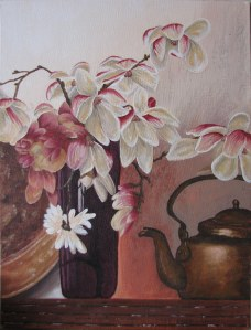 Pink Flowers with Kettle