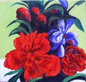 Red Peoney with Siberian Irissm