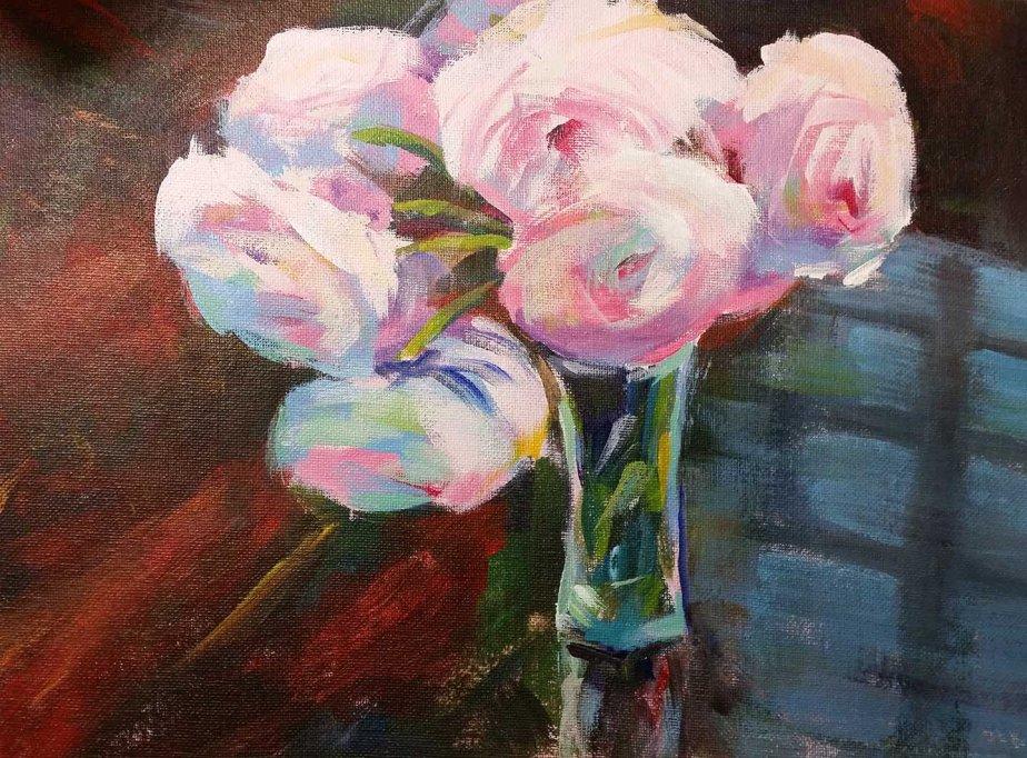 peonies painting