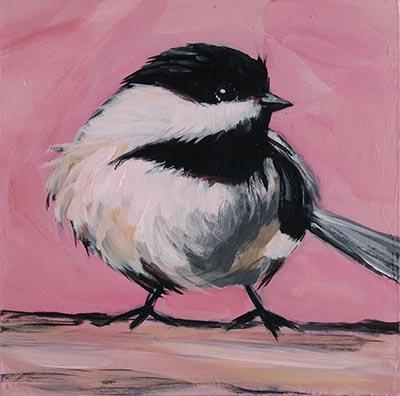 Pink Bird 4x4 acrylic on cradled wood panel